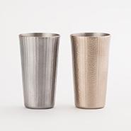燕鎚器銅器 ビアカップ ストレート 十草文/線条文